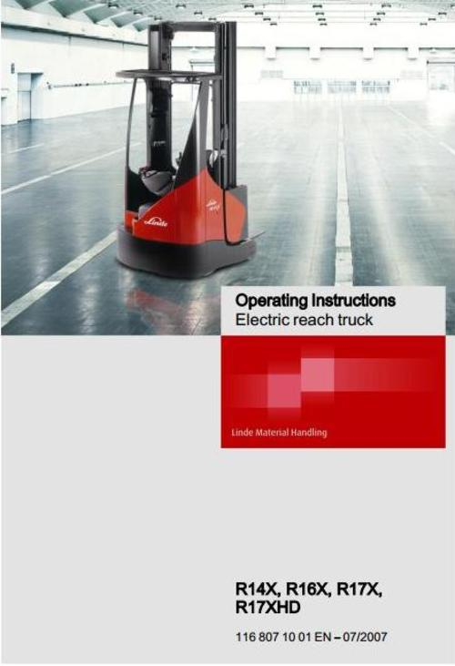 Free Linde Electric Reach Truck Type 116: R14X, R16X, R17X, R17XHD Operating Instructions (User Manual) Download thumbnail