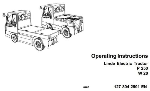 linde electric tractor type 127  p250  w20 operating instructions