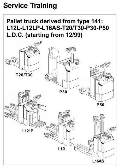 linde pallet truck type 141  l12l  l12lp  l16as  p30  p50  t20  t30