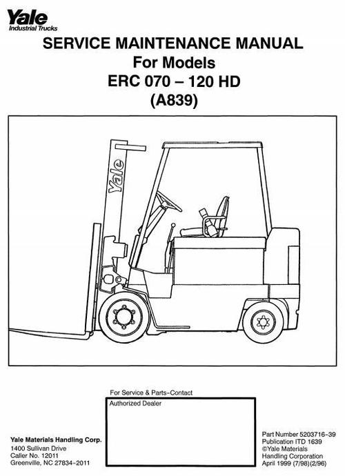 Yale Forklift Truck A839 Series  Erc070hd  Erc080hd  Erc100hd  Erc1