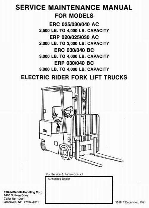 Yale Electric Rider Fork Lift Truck Type Ac  Bc  Erp020
