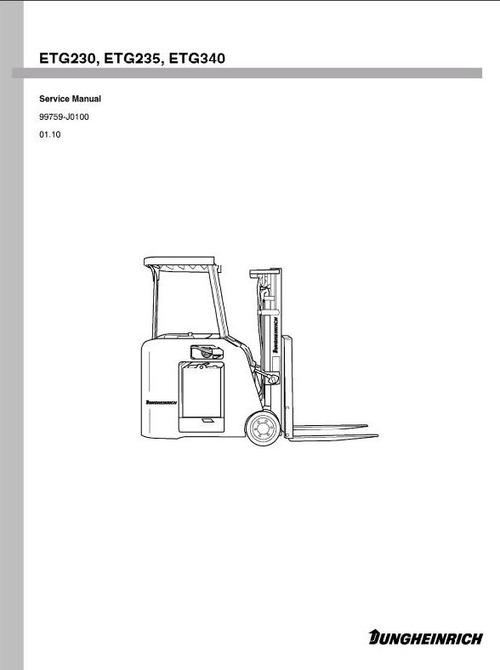 Pay for Jungheinrich Electric Lift Truck ETG-Series: 230 (from 01.10), 235 (from 01.10), 240 (from 01.10) Workshop Manual
