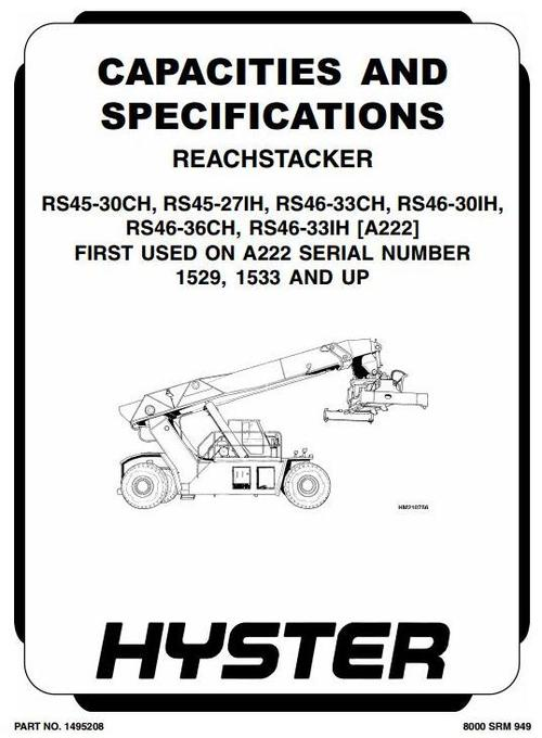 Pay for Hyster Diesel Counter Balanced Truck Type A222: RS45-27IH, RS45-30CH, RS46-30IH, RS46-33CH, RS46-33IH, RS46-36CH Workshop Manual