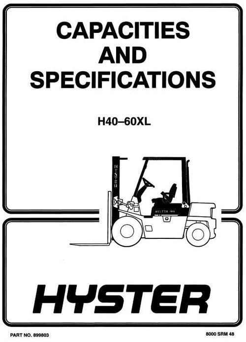 Hyster Forklift Truck Type B177, C177: H2 00XL (H40XL), H2 50XL (H50XL),  H3 00 (H60XL) Workshop Manual