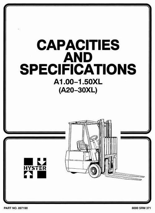 Free Hyster Forklift Truck Type A203: A1.00XL (A20XL), A1.25XL (A25XL), A1.50XL (A30XL) Workshop Manual Download thumbnail