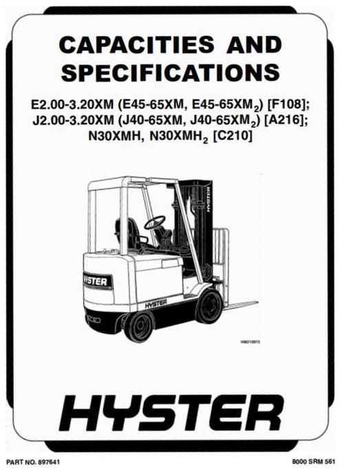 hyster forklift truck type f108  e2 00xm  e2 50xm  e3 0xm