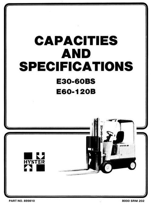 Pay for Hyster Electric Forklift Truck Type B098: E100B, E120B, E60B, E70B, E80B Workshop Manual