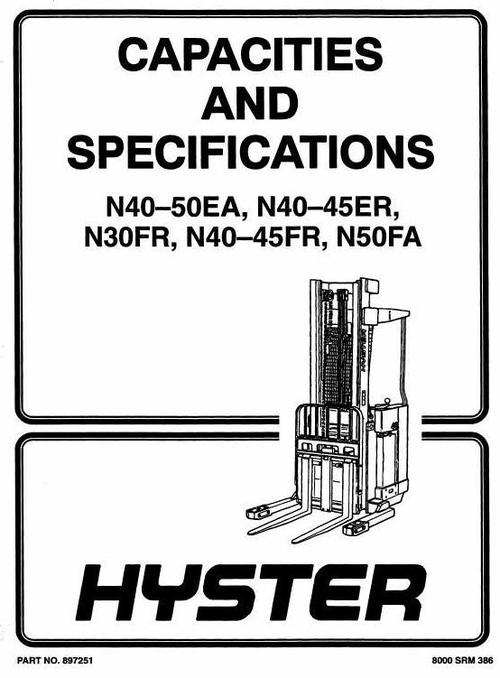 Free Hyster Electric Forklift Truck Type D138: N40FR, N45FR, N50FA Workshop Manual Download thumbnail