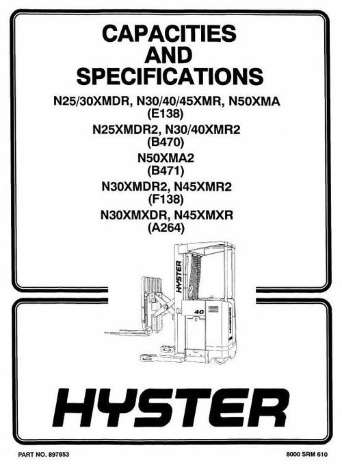 Free Hyster Electric Lift Truck Type E138: N25XMDR, N30XMDR, N30XMR, N40XMR, N45XMR, N50XMA Workshop Manual Download thumbnail