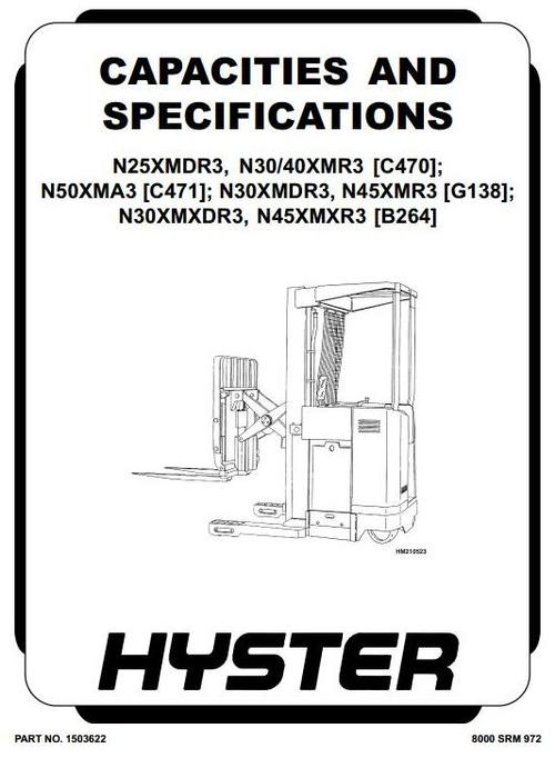 Free Hyster Electric Forklift Truck Type G138: N30XMDR3, N45XMR3 Workshop Manual Download thumbnail