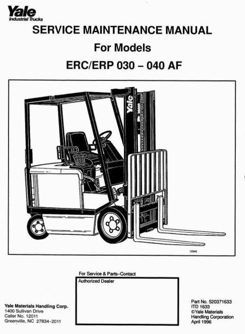 yale electric forklift truck  erc030af  erc040af  erp030af  erp040a