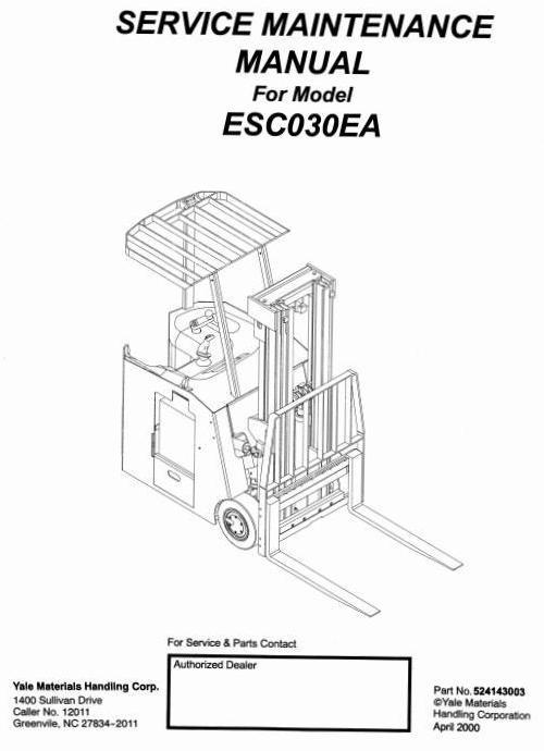 Yale 6500 Electric Forklift Service Manual