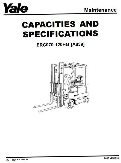 Yale Electric Forklift Truck Type A839  Erc070hg  Erc080hg