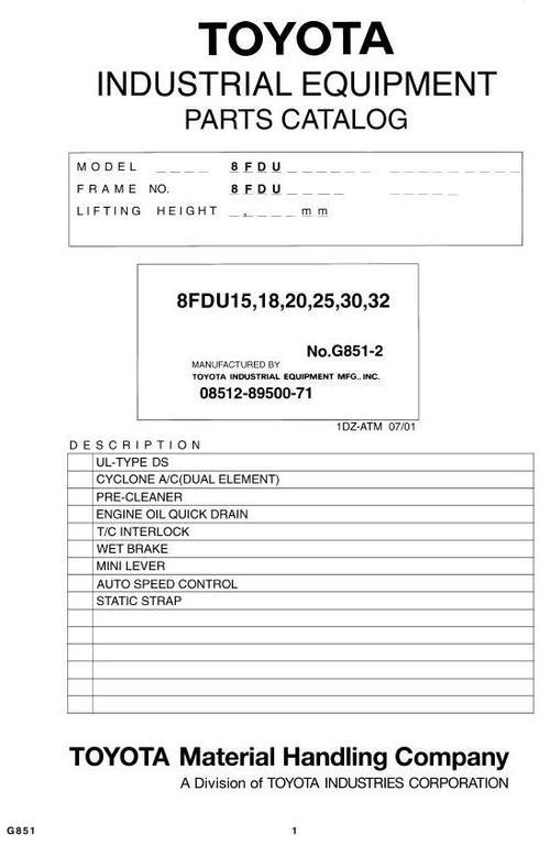 Pay for Toyota Diesel  Forklift Truck 8-Series: 8FDU15, 8FDU18, 8FDU20, 8FDU25, 8FDU30, 8FDU32 Parts Manual