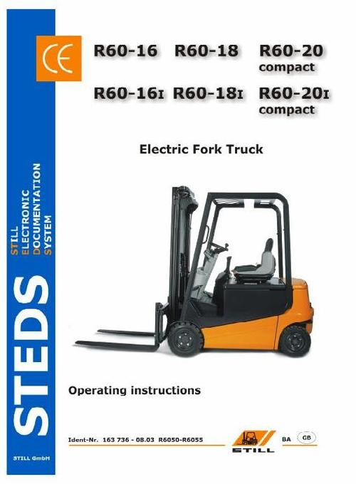 Free Still Electric Fork Truck Type R60-16, R60-18, R60-20 Compact: R6050, R6051, R6052, R6053, R6054, R6055 Operating Manual Download thumbnail