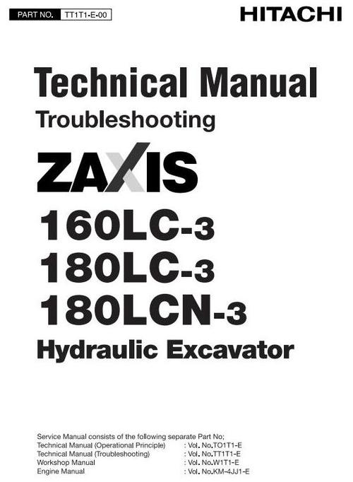 Pay for Hitachi Hydraulic Excavator Zaxis 160LC3, 180LC3, 180LCN-3 Workshop Service Manual