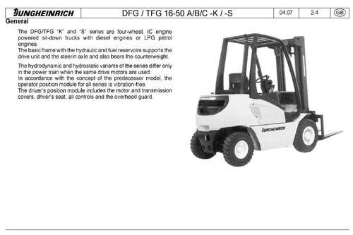 Pay for Jungheinrich Fork Truck Type DFG316S, TFG316S, DFG320S, TFG320S (07.2008-08.2009) Workshop Service Manual