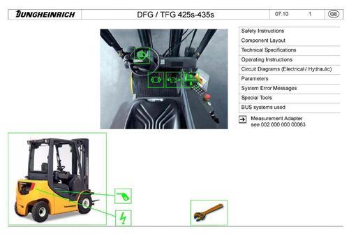 Pay for Jungheinrich Fork Truck Type DFG425S, DFG430S, DFG435S, TFG425S, TFG430S, TFG435S Workshop Service Manual