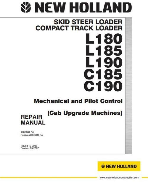 Pay for New Holland Skid Steer Loader C185, C190, L180, L185, L190 Workshop Service Manual