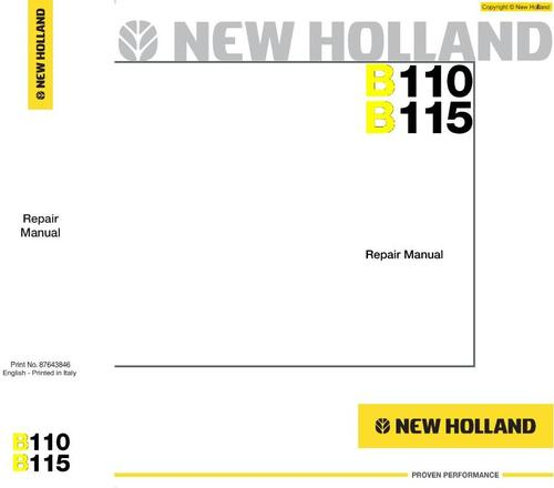 Pay for New Holland Backhoe Loaders B-Series: B110, B115 Workshop Service Manual