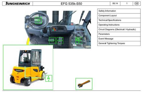 Pay for Jungheinrich Electric Lift Truck EFG 535K(KS), EFG 540 (K,S,KS), EFG 545(K,S,KS), EFG 550(S), EFG S40(S), EFG S50(S) Workshop Service Manual