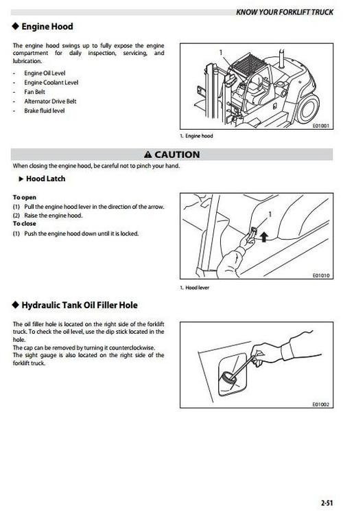 Pay for Mitsubishi Diesel Forklift Truck FD100NM1(S), FD120NM1(S), FD135NM1(S), FD150ANM1(S) Operating and Maintenance Instructions