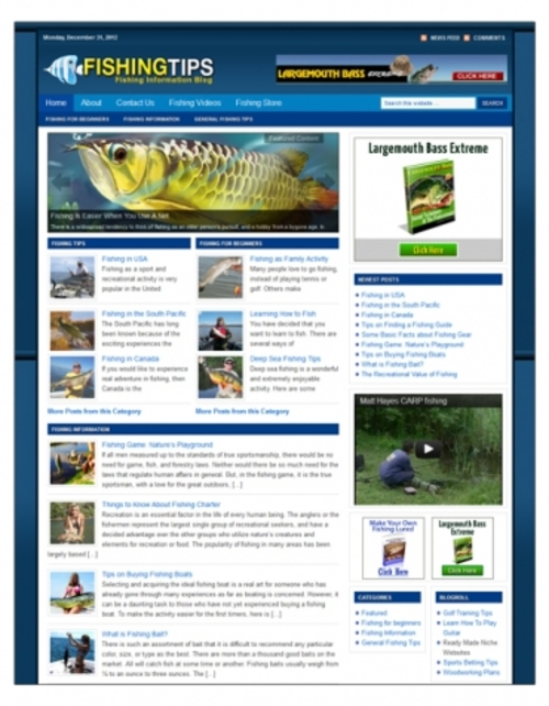 Pay for Fishing Niche Blog Package ( Private Label Rights )