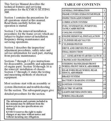 Free Kymco Xciting 500 2005-2006 Service Repair Manual & Part Catalog  Download thumbnail