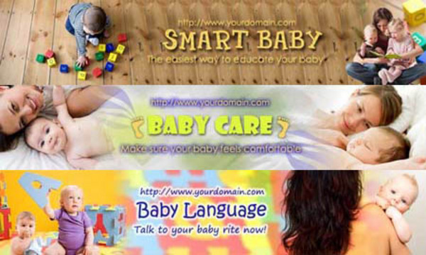 Pay for Baby Website Headers (3in1, 3 PSD+3 JPG, 750x150px, Hi-res)