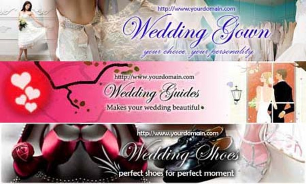 Pay for Wedding Website Banner (3in1,3PSD+3JPG,750x150,Hi-res)