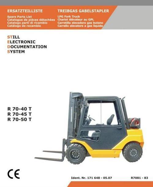 Pay for Still LPG Fork Truck Type R70-40T, R70-45T, R70-50T: R7081, R7082, R7083 Parts Manual