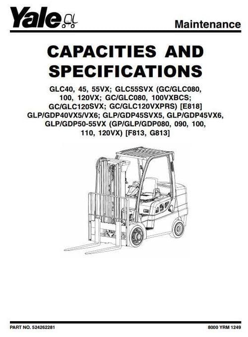 yale lpg forklift truck f813 series  gp080vx  gp090vx
