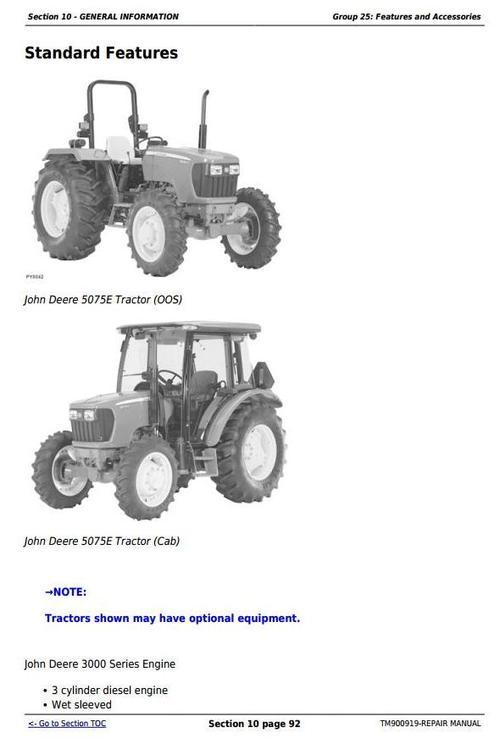 john deere 5055e 5065e 5075e north america tractors service re rh tradebit com John Deere 5055E Utility Tractor John Deere 5085M