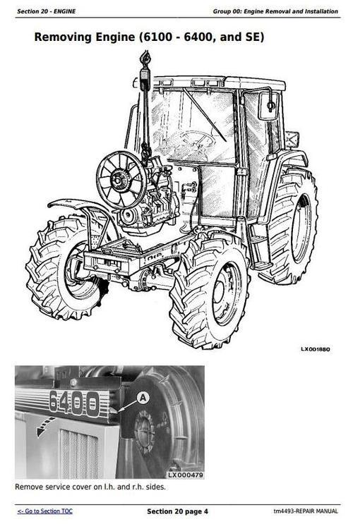 Pay for John Deere 6100, 6200, 6300, 6400, 6506, 6600, SE6100, SE6200, SE6300, SE6400 Tractors Service Repair Manual (tm4493)
