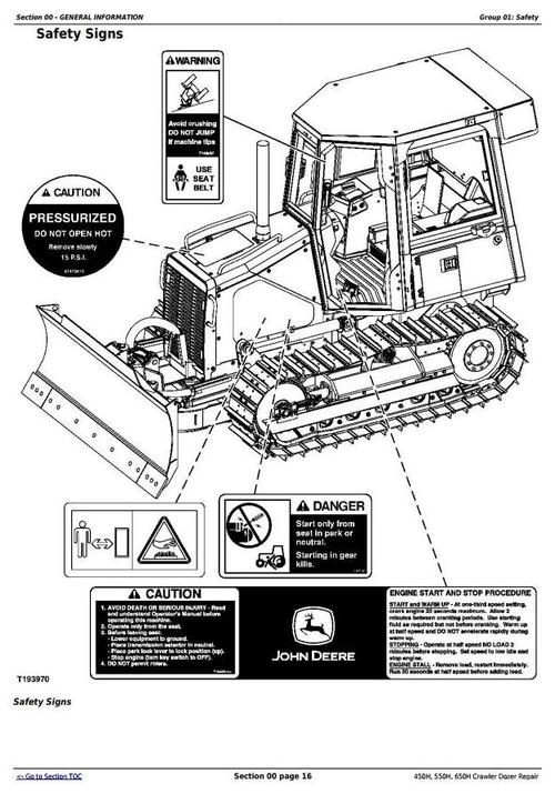 Pay for John Deere 450H, 550H, 650H Crawler Dozer Service Repair Technical Workshop Manual (TM1744)