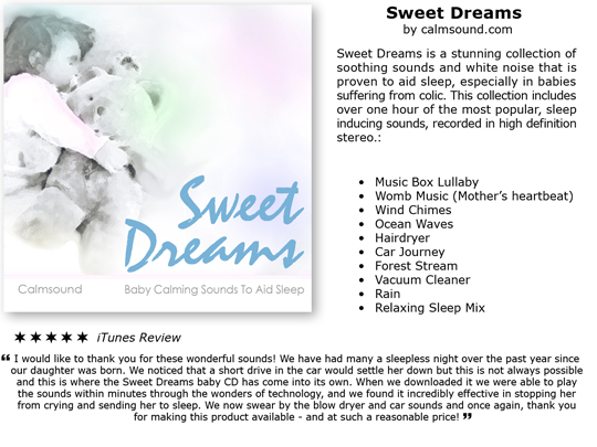 Pay for Sweet Dreams - Baby Calming Sounds to help babies Sleep, Includes white noise sounds for babies with colic.