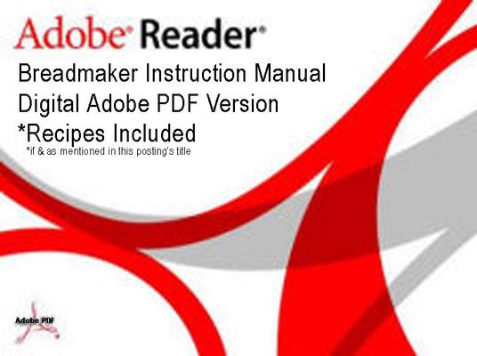 Pay for Williams Sonoma Breadmaker Parts Model WS0598 Instruction Manual Recipes.pdf