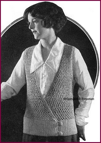 Pay for 1924 Knot Stitch Surplice Womens Vest Crochet Pattern