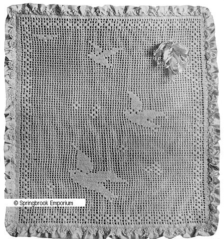 Pay for Bluebird Infant Afghan Filet 1916 Crochet Pattern