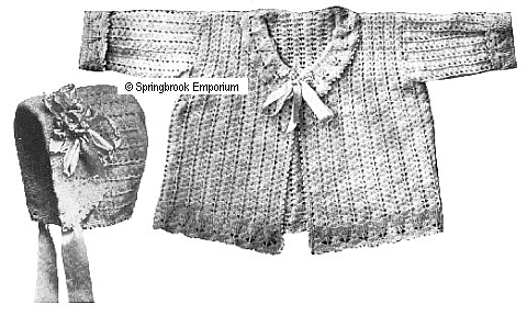 Pay for Bonnie Baby Sweater and Bonnet 1916 Crochet Pattern