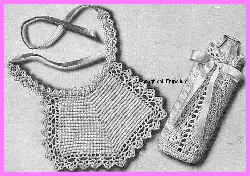 Lace Edged Baby Bib And Bottle Cozy Set Crochet Pattern Download