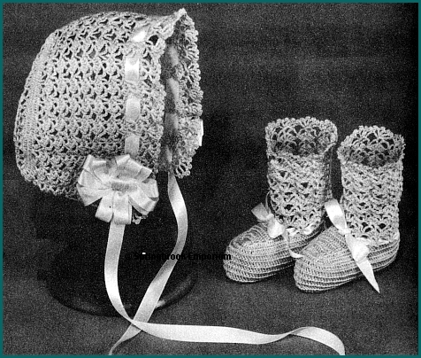 Crochet Baby Bonnet And Booties Pattern : Lacy Heirloom Baby Bonnet and Booties Crochet Pattern ...