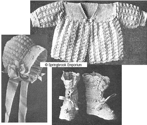Pay for Rambler Rose Baby Sacque Cap  Booties Crochet Pattern