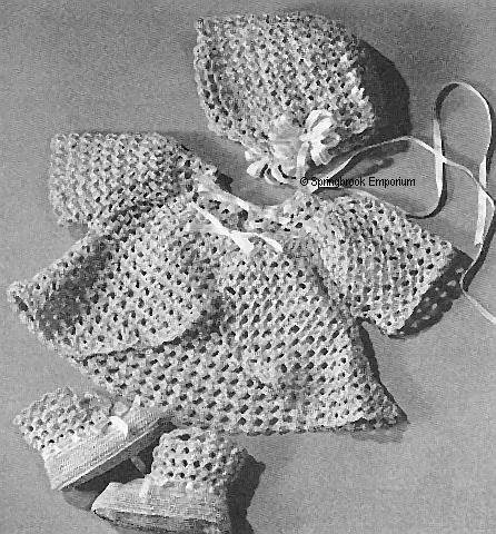 Pay for Royal Lacy Baby Sacque Booties Bonnet Crochet Pattern