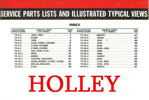 Carter Holley Carb Carburetor Manuals X 6 Parts Ipl