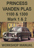 Thumbnail PRINCESS Vanden Plas 1100 & 1300 Mark 1 & 2 Workshop Manual