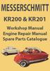 Thumbnail MESSERSCHMITT KR200 & KR201 Workshop & Spare Parts Manual