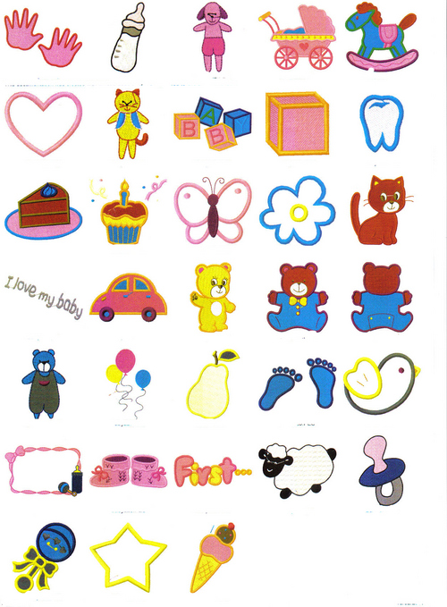 Set 2 Set Of 33 Baby Embroidery Designs Download Misc