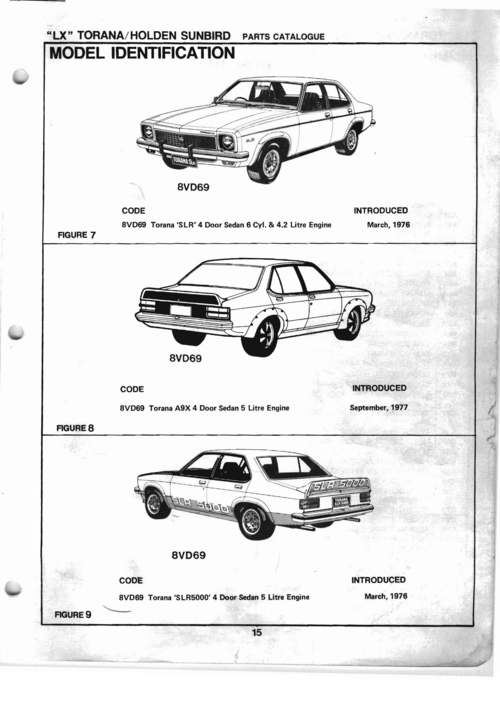 Pay for HOLDEN TORANA LX SLR 5000 SS A9X PARTS CATALOG BOOK