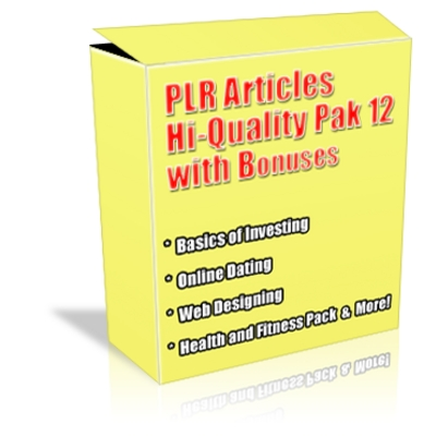 Pay for Buy PLR Articles Hi-Quality Pack 12 with Bonus